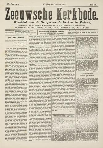 Zeeuwsche kerkbode, weekblad gewijd aan de belangen der gereformeerde kerken/ Zeeuwsch kerkblad 1915-10-22