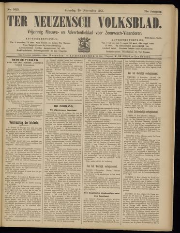 Ter Neuzensch Volksblad. Vrijzinnig nieuws- en advertentieblad voor Zeeuwsch- Vlaanderen / Zeeuwsch Nieuwsblad. Nieuws- en advertentieblad voor Zeeland 1915-11-20