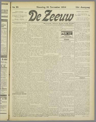 De Zeeuw. Christelijk-historisch nieuwsblad voor Zeeland 1924-11-10