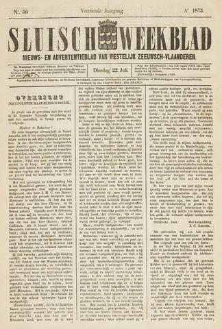 Sluisch Weekblad. Nieuws- en advertentieblad voor Westelijk Zeeuwsch-Vlaanderen 1873-07-22