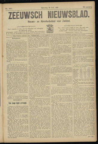 Ter Neuzensch Volksblad. Vrijzinnig nieuws- en advertentieblad voor Zeeuwsch- Vlaanderen / Zeeuwsch Nieuwsblad. Nieuws- en advertentieblad voor Zeeland 1919-07-26