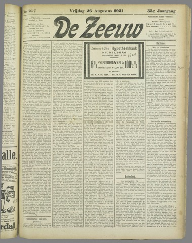 De Zeeuw. Christelijk-historisch nieuwsblad voor Zeeland 1921-08-26