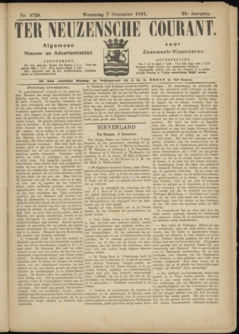 Ter Neuzensche Courant. Algemeen Nieuws- en Advertentieblad voor Zeeuwsch-Vlaanderen / Neuzensche Courant ... (idem) / (Algemeen) nieuws en advertentieblad voor Zeeuwsch-Vlaanderen 1881-12-07