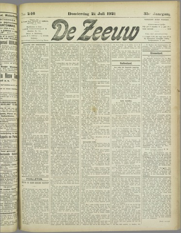 De Zeeuw. Christelijk-historisch nieuwsblad voor Zeeland 1921-07-21