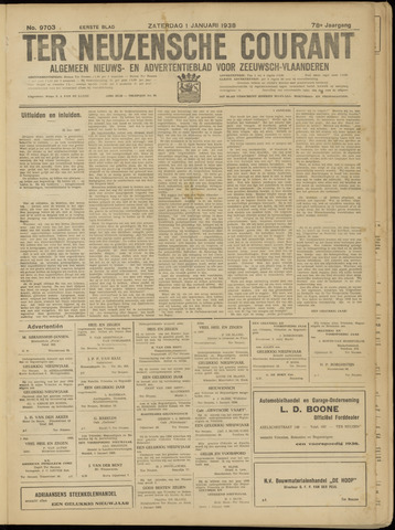 Ter Neuzensche Courant. Algemeen Nieuws- en Advertentieblad voor Zeeuwsch-Vlaanderen / Neuzensche Courant ... (idem) / (Algemeen) nieuws en advertentieblad voor Zeeuwsch-Vlaanderen 1938