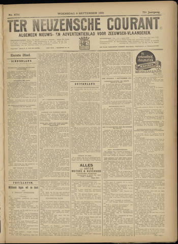 Ter Neuzensche Courant. Algemeen Nieuws- en Advertentieblad voor Zeeuwsch-Vlaanderen / Neuzensche Courant ... (idem) / (Algemeen) nieuws en advertentieblad voor Zeeuwsch-Vlaanderen 1931-09-09