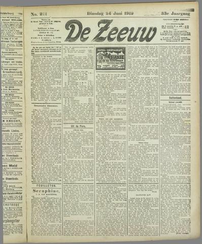 De Zeeuw. Christelijk-historisch nieuwsblad voor Zeeland 1919-06-24
