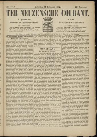 Ter Neuzensche Courant. Algemeen Nieuws- en Advertentieblad voor Zeeuwsch-Vlaanderen / Neuzensche Courant ... (idem) / (Algemeen) nieuws en advertentieblad voor Zeeuwsch-Vlaanderen 1882-02-11