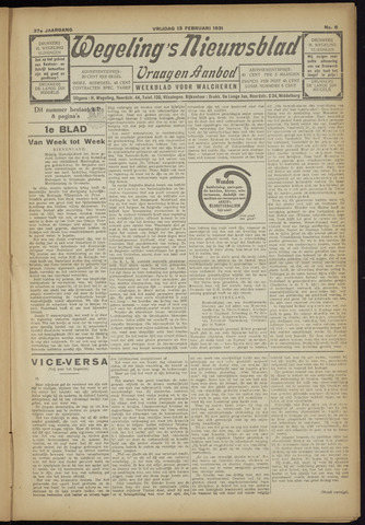 Zeeuwsch Nieuwsblad/Wegeling's Nieuwsblad 1931-02-13