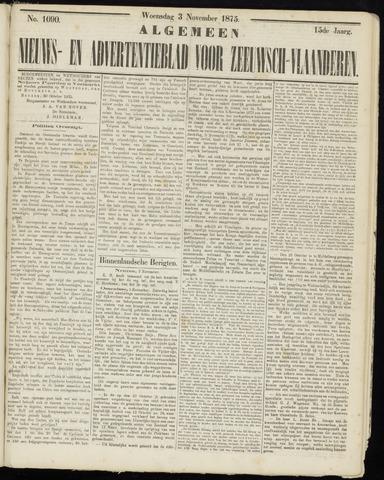 Ter Neuzensche Courant. Algemeen Nieuws- en Advertentieblad voor Zeeuwsch-Vlaanderen / Neuzensche Courant ... (idem) / (Algemeen) nieuws en advertentieblad voor Zeeuwsch-Vlaanderen 1875-11-03