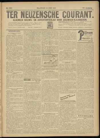 Ter Neuzensche Courant. Algemeen Nieuws- en Advertentieblad voor Zeeuwsch-Vlaanderen / Neuzensche Courant ... (idem) / (Algemeen) nieuws en advertentieblad voor Zeeuwsch-Vlaanderen 1933-06-12