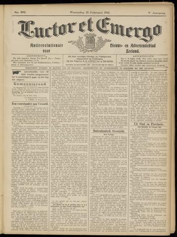 Luctor et Emergo. Antirevolutionair nieuws- en advertentieblad voor Zeeland / Zeeuwsch-Vlaanderen. Orgaan ter verspreiding van de christelijke beginselen in Zeeuwsch-Vlaanderen 1912-02-21