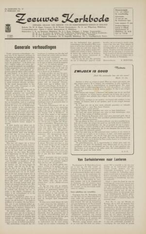Zeeuwsche kerkbode, weekblad gewijd aan de belangen der gereformeerde kerken/ Zeeuwsch kerkblad 1966-02-25