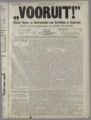 """""""Vooruit!""""Officieel Nieuws- en Advertentieblad voor Overflakkee en Goedereede 1917-04-28"""
