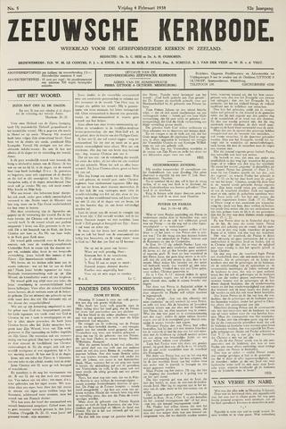 Zeeuwsche kerkbode, weekblad gewijd aan de belangen der gereformeerde kerken/ Zeeuwsch kerkblad 1938-02-04