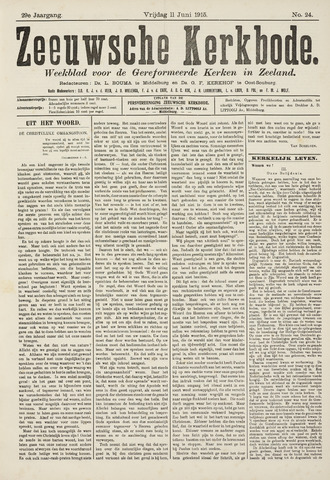 Zeeuwsche kerkbode, weekblad gewijd aan de belangen der gereformeerde kerken/ Zeeuwsch kerkblad 1915-06-11