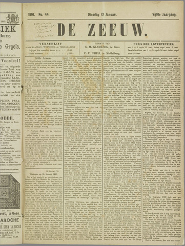 De Zeeuw. Christelijk-historisch nieuwsblad voor Zeeland 1891-01-13