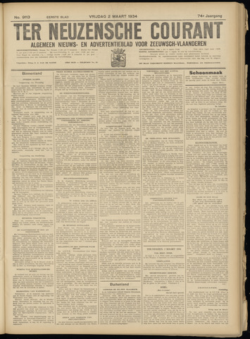 Ter Neuzensche Courant. Algemeen Nieuws- en Advertentieblad voor Zeeuwsch-Vlaanderen / Neuzensche Courant ... (idem) / (Algemeen) nieuws en advertentieblad voor Zeeuwsch-Vlaanderen 1934-03-02