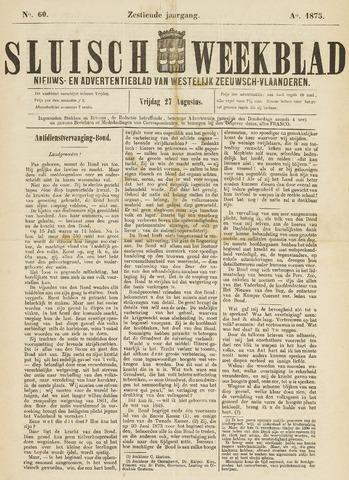 Sluisch Weekblad. Nieuws- en advertentieblad voor Westelijk Zeeuwsch-Vlaanderen 1875-08-27