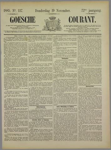 Goessche Courant 1885-11-19