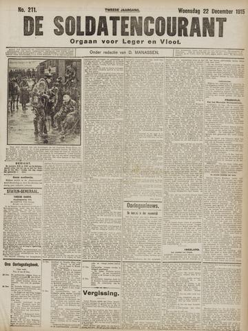 De Soldatencourant. Orgaan voor Leger en Vloot 1915-12-22