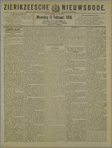 Zierikzeesche Nieuwsbode 1914-02-09