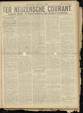 Ter Neuzensche Courant. Algemeen Nieuws- en Advertentieblad voor Zeeuwsch-Vlaanderen / Neuzensche Courant ... (idem) / (Algemeen) nieuws en advertentieblad voor Zeeuwsch-Vlaanderen 1923-09-17