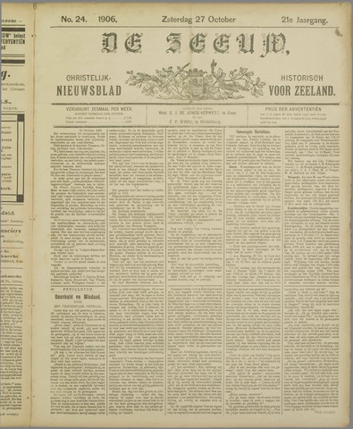De Zeeuw. Christelijk-historisch nieuwsblad voor Zeeland 1906-10-27