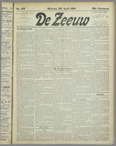 De Zeeuw. Christelijk-historisch nieuwsblad voor Zeeland 1918-04-30