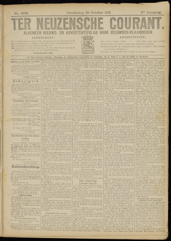 Ter Neuzensche Courant. Algemeen Nieuws- en Advertentieblad voor Zeeuwsch-Vlaanderen / Neuzensche Courant ... (idem) / (Algemeen) nieuws en advertentieblad voor Zeeuwsch-Vlaanderen 1918-10-24