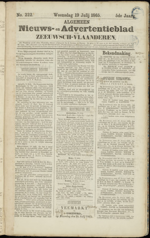 Ter Neuzensche Courant. Algemeen Nieuws- en Advertentieblad voor Zeeuwsch-Vlaanderen / Neuzensche Courant ... (idem) / (Algemeen) nieuws en advertentieblad voor Zeeuwsch-Vlaanderen 1865-07-19
