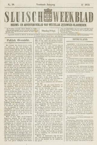 Sluisch Weekblad. Nieuws- en advertentieblad voor Westelijk Zeeuwsch-Vlaanderen 1873-09-09