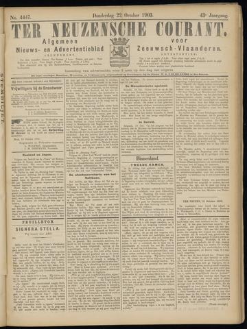 Ter Neuzensche Courant. Algemeen Nieuws- en Advertentieblad voor Zeeuwsch-Vlaanderen / Neuzensche Courant ... (idem) / (Algemeen) nieuws en advertentieblad voor Zeeuwsch-Vlaanderen 1903-10-22