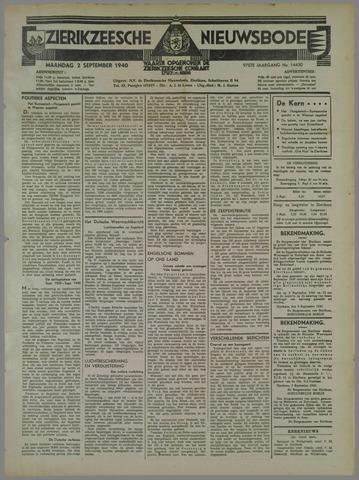 Zierikzeesche Nieuwsbode 1940-09-02