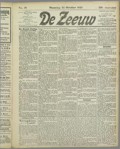 De Zeeuw. Christelijk-historisch nieuwsblad voor Zeeland 1918-10-21