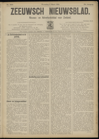 Ter Neuzensch Volksblad. Vrijzinnig nieuws- en advertentieblad voor Zeeuwsch- Vlaanderen / Zeeuwsch Nieuwsblad. Nieuws- en advertentieblad voor Zeeland 1918-03-06