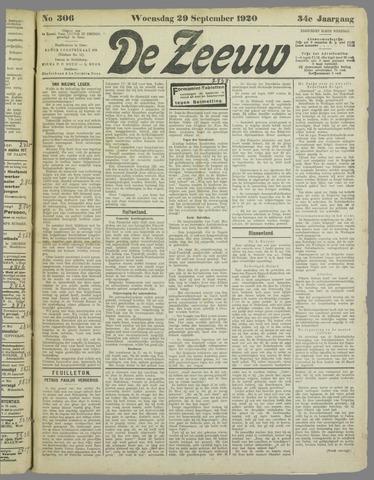 De Zeeuw. Christelijk-historisch nieuwsblad voor Zeeland 1920-09-29
