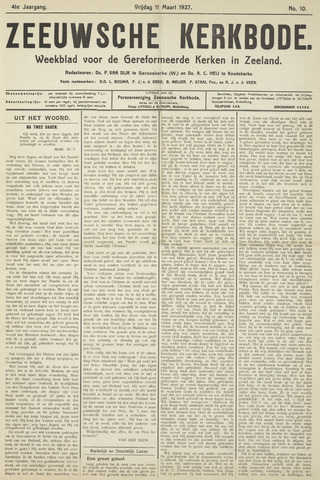 Zeeuwsche kerkbode, weekblad gewijd aan de belangen der gereformeerde kerken/ Zeeuwsch kerkblad 1927-03-11