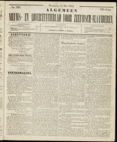 Ter Neuzensche Courant. Algemeen Nieuws- en Advertentieblad voor Zeeuwsch-Vlaanderen / Neuzensche Courant ... (idem) / (Algemeen) nieuws en advertentieblad voor Zeeuwsch-Vlaanderen 1872-05-15