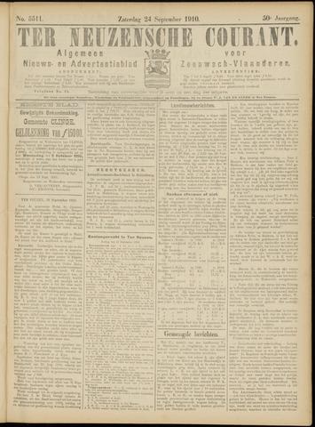 Ter Neuzensche Courant. Algemeen Nieuws- en Advertentieblad voor Zeeuwsch-Vlaanderen / Neuzensche Courant ... (idem) / (Algemeen) nieuws en advertentieblad voor Zeeuwsch-Vlaanderen 1910-09-24