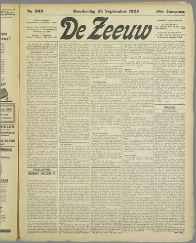 De Zeeuw. Christelijk-historisch nieuwsblad voor Zeeland 1924-09-25