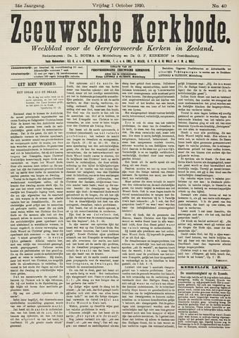 Zeeuwsche kerkbode, weekblad gewijd aan de belangen der gereformeerde kerken/ Zeeuwsch kerkblad 1920-10-01