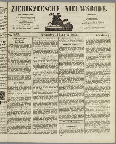 Zierikzeesche Nieuwsbode 1851-04-14