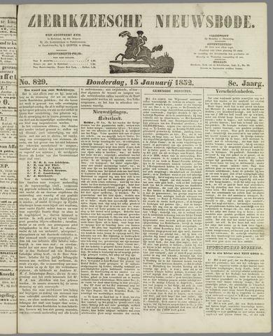 Zierikzeesche Nieuwsbode 1852-01-15