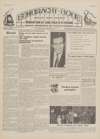 Eendrachtbode (1945-heden)/Mededeelingenblad voor het eiland Tholen (1944/45) 1969-09-04