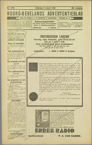 Noord-Bevelands Nieuws- en advertentieblad 1932-01-09