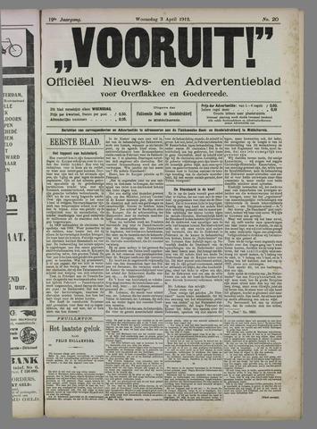 """""""Vooruit!""""Officieel Nieuws- en Advertentieblad voor Overflakkee en Goedereede 1912-04-03"""