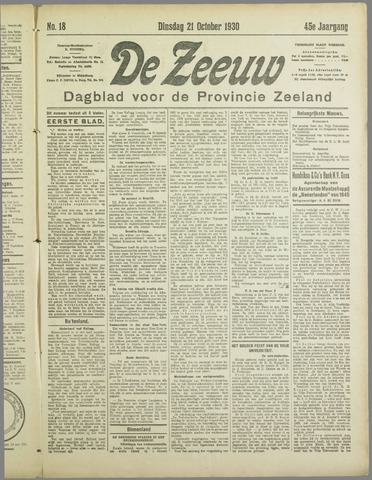 De Zeeuw. Christelijk-historisch nieuwsblad voor Zeeland 1930-10-21