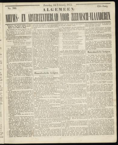 Ter Neuzensche Courant. Algemeen Nieuws- en Advertentieblad voor Zeeuwsch-Vlaanderen / Neuzensche Courant ... (idem) / (Algemeen) nieuws en advertentieblad voor Zeeuwsch-Vlaanderen 1872-02-24