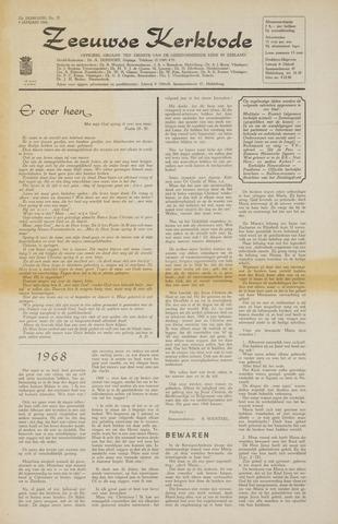 Zeeuwsche kerkbode, weekblad gewijd aan de belangen der gereformeerde kerken/ Zeeuwsch kerkblad 1968-01-04